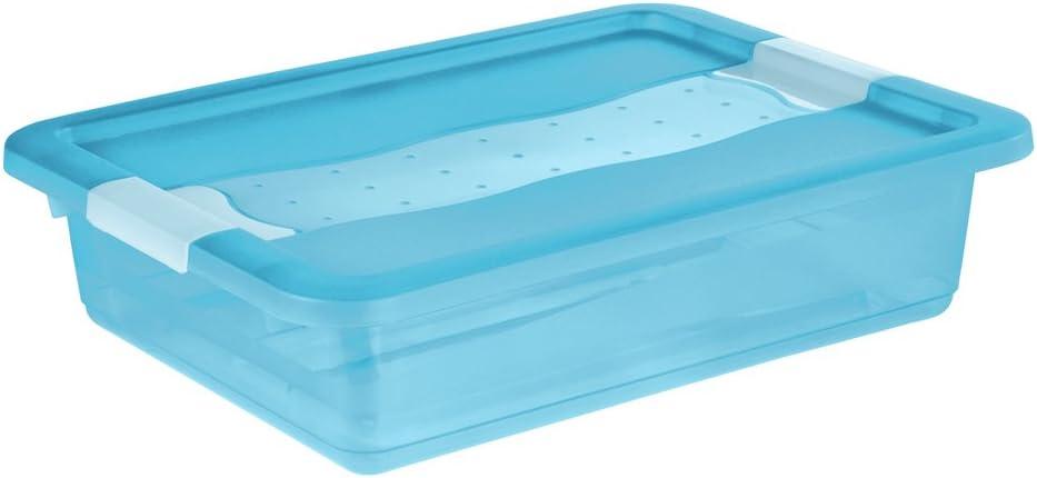 OKT Cornelia Cubos de almacenaje con Tapa, Plã¡Stico, Azul Transparente, 7 l