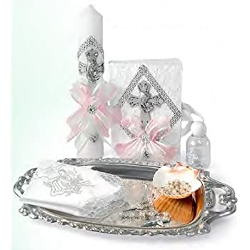 English Handmade Christening/Baptism Set for Girl, Boy, or Unisex : Candle, Bible, Dry Cloth, Sea Shell, Rosary and Holy Water Bottle Silver Tray– Bautizo ...
