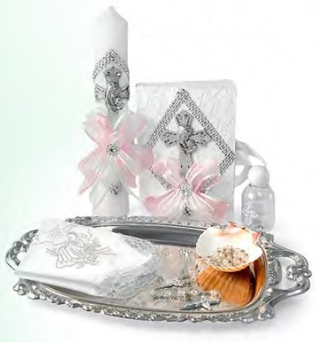 Spanish Handmade Christening/Baptism Set for Girl, Boy, or Unisex Virgen : Candle, Bible, Dry Cloth, Sea Shell, Rosary and Holy Water Bottle Silver Tray–Bautizo Religious Gift (Pink)