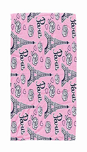 ROOLAYS Large Beach Towels for Kids, 30x60 Microfiber Beach Towel Quick Dry for TravelSwimming Baby Bath Towel of Pattern Paris Modern Bright Design Girls Isolated on Pink Background Black Ink Eiffel