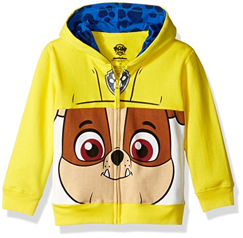 Nickelodeon Toddler Boys' Paw Patrol Character Big Face Zip-Up Hoodies, Rubble Yellow, 4T -