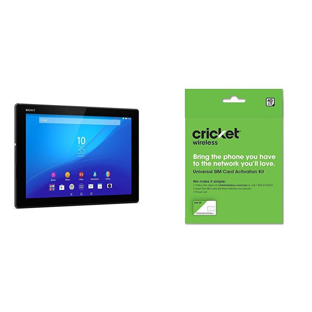 Sony Z4 Tablet (LTE) - Unlocked Tablet - Black (US Warranty) and Cricket Wireless BYOD Prepaid SIM Card