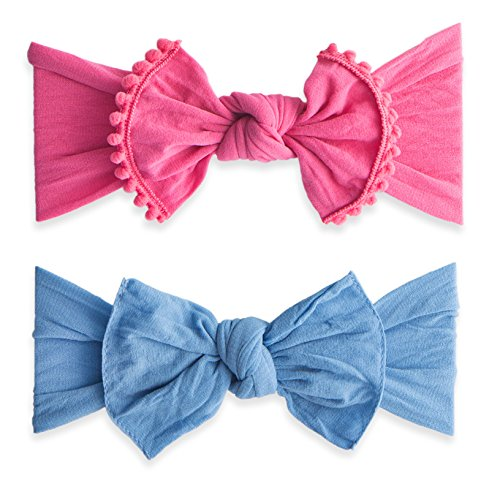 Baby Bling Bow 2 Pack: Trimmed and Classic Knot Girls Baby Headbands - MADE IN USA - Hot Pink/Denim