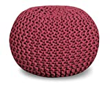 14 Inch High Ottoman Queenzliving 100% Cotton Hand Knitted Twisted Cable Style Dori Pouf/Floor Ottoman Size 20
