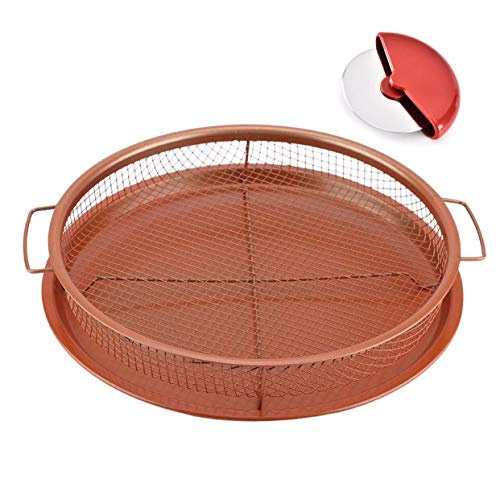 UPGRADED Deluxe Round Copper Crisper - Air Fryer in Oven - 2-Pieces Nonstick Pan/Tray & Mesh Basket Set for French Fry, Pizza, Bacon, Frozen Food Baking - Free Pizza Cutter Slicer Wheel