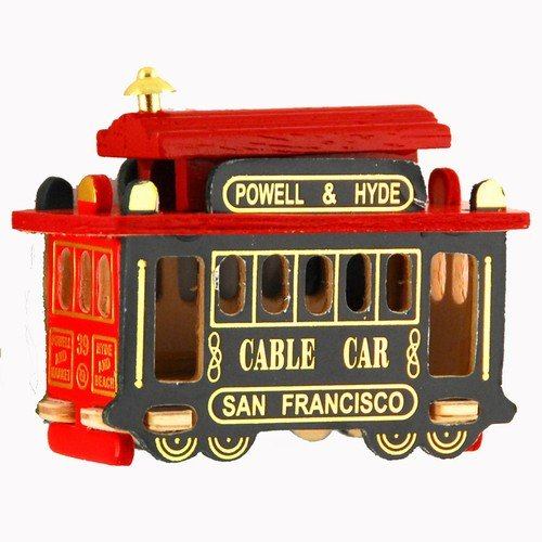 (9 8/18) San Francisco Cable Car Magnet 3 Inch Red Green Wood Car Magnet On Back