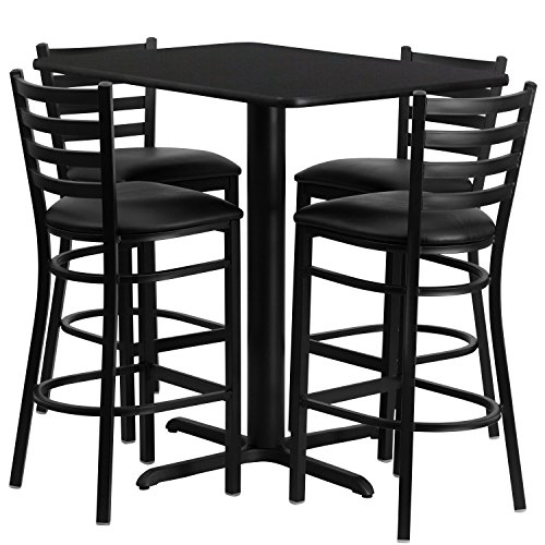Flash Furniture 24''W x 42''L Rectangular Black Laminate Table Set with 4 Ladder Back Metal Barstools - Black Vinyl Seat -