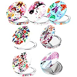 7pc Set Double Compact Cosmetic Makeup Round Pocket Purse Magnification Jewel Mirror (8-7pc)