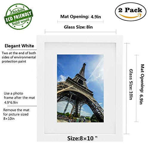 Picture Frame 2pack 8x10 inch White,Anti-Corrosion Wood Photo Frame 4-side Painted with Modelling Effect Mat,Table Top & Wall Mounting Available - Hanging Hardware Included