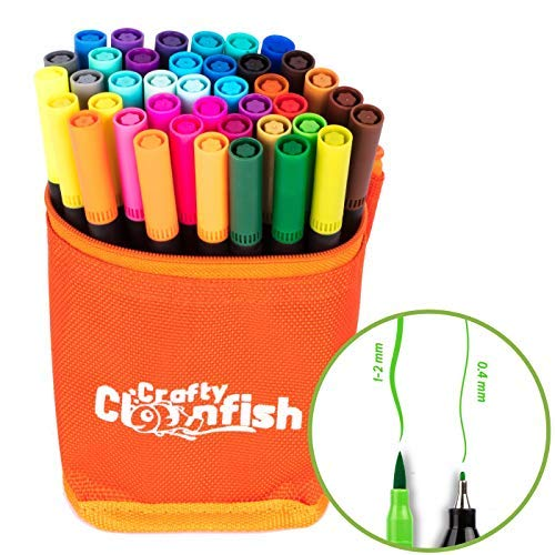 - 40 Brush Pens Dual Tip Markers Pens Set. Vibrant Colors Safe & Non Toxic with Fine & Brush Tips. Adults & Kids for Drawing, Arts & Crafts, Calligraphy, Shading, Watercolor, Outlining, Journaling