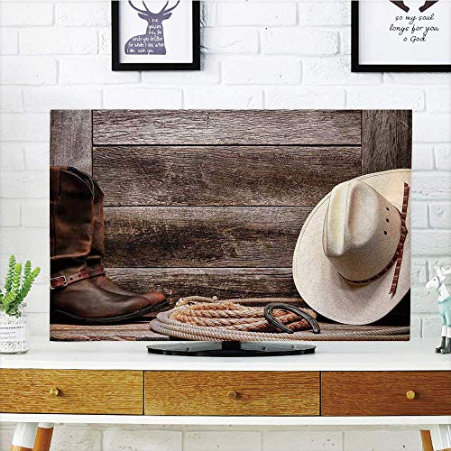 LCD TV dust Cover,Western Decor,American West Rodeo White Straw Cowboy Hat with Lariat Leather Boots on Rustic Barn Wood,3D Print Design Compatible 42