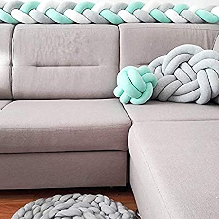 YIKANWEN Cot Bumper Breathable Crib Bumper Braided Bumpers for Baby Braid Cot Liner Braid with Three Strands 200 cm