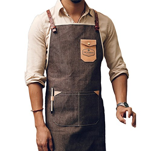LSRONG Professional Grade Chef Kitchen Apron,Denim Canvas Work Apron,with Tool Pockets,Quick Release Buckle and Adjustable strap M to XXL