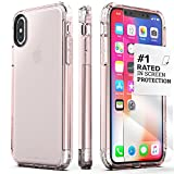 iPhone X/XS Case, SaharaCase Inspire Protection Kit Bundle with [ZeroDamage Tempered Glass Screen Protector] Heavy Duty Protection Hard Back and Shockproof Bumper (Clear Rose  Gold)