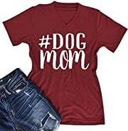 Women Summmer Short Sleeve V Neck Dog Mom Letter Print Funny T-shirt Tee Top