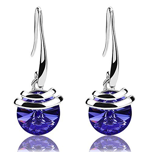 Mondaynoon Christmas Gift Magic Love Bean Women's Swarovski Element Crystal French Wire Dangle Earrings (Tanzanite1177) (Angel Round Earrings)