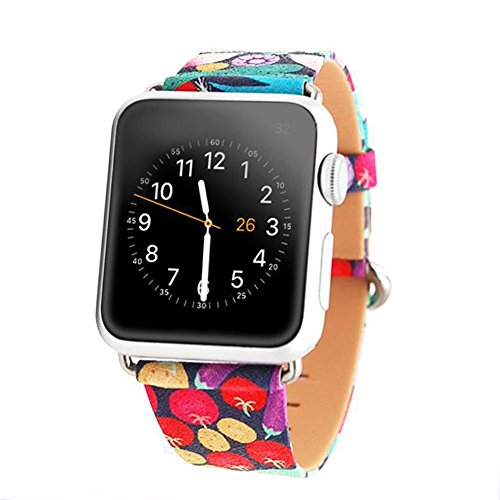 Price comparison product image Kobwa 38MM/42MM Watch Band for Apple Watch, Endearing Vegetables Pattern Leather Band Traditional Classic Bracelet Replacement Strap Buckle Watchband For IWatch Series 1 2 Series 3