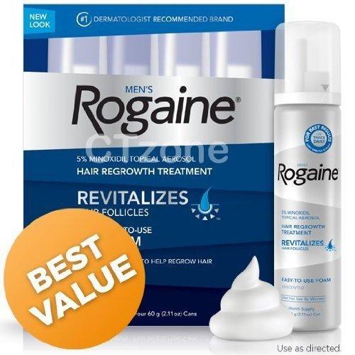 Rogaine repousse des cheveux pour les hommes 5% Minoxidil topique Foam Supply 4 mois