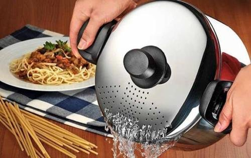 Stainless Steel Pasta Pot Spaghetti Pot With Locking Strainer Lid 22