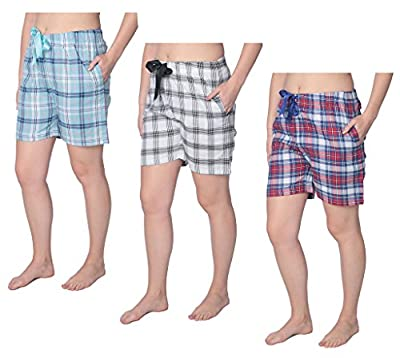 Beverly Rock Women's 100% Cotton Plaid Lounge Sleep Shorts Available in Plus Size