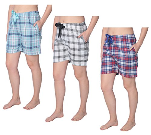 Beverly Rock Women's 100% Cotton Plaid Lounge Sleep ShortsAvailable in Plus Size Y18_Short_WS01 3-Pack (Rock Bottom Clothes)