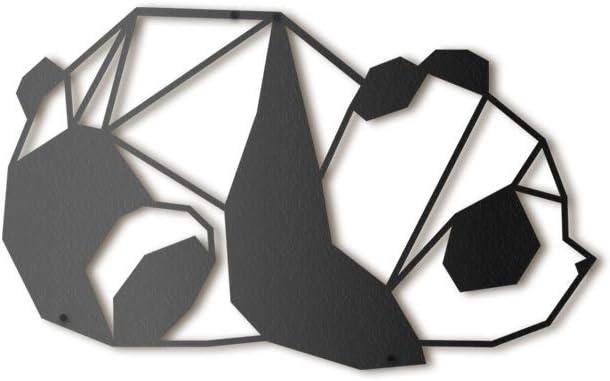 Hoagard Panda Metal Wall Art - Decoración geométrica para Pared - Oso Panda - Metal - 30 x 50 cm