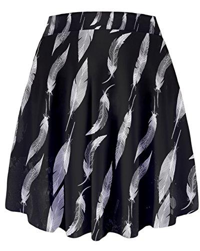 Cowcow–pájaro plumas patrón de impresión gráfica alta cintura falda, XS-3X L Black Leafy