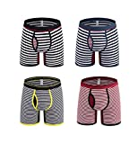 Nuofengkudu Men's 4 Pack Sport Soft Cotton Trunks Boxer Briefs Stripe Underwear Flexible Mid-Rised (Boxer-Thick L), Boxers-1