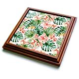 3dRose trv_269101_1 Aloha Hibiscus Flower Leaves Monstera Jungle Tropical Hawaii Pattern Trivet with Tile, 8 by 8'',