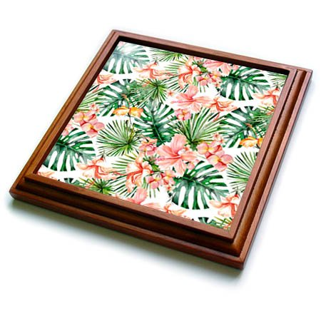 3dRose trv_269101_1 Aloha Hibiscus Flower Leaves Monstera Jungle Tropical Hawaii Pattern Trivet with Tile, 8 by 8'' by 3dRose