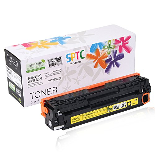 SPTC Replacement for HP 125A CB542A Toner Cartridge Compatible with CRG-116 CP1215 CP1210 CP1515N CP1518NI CM1312nfi CM1300 CM1312 MFP HP Color Laserjet Yellow 1,400 Pages High Yield