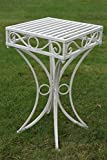Olive Grove Versailles Metal Garden side Table or Plant Stand in Antique White Finish