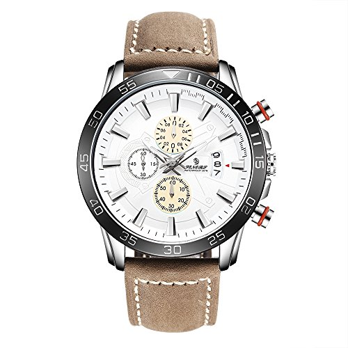 Big Sport Stop-watch for Men SENORS Chronograph Wrist Watch Leather Strap Sub Dial Quartz Male Clock Date (Textured Chronograph Yellow Dial)