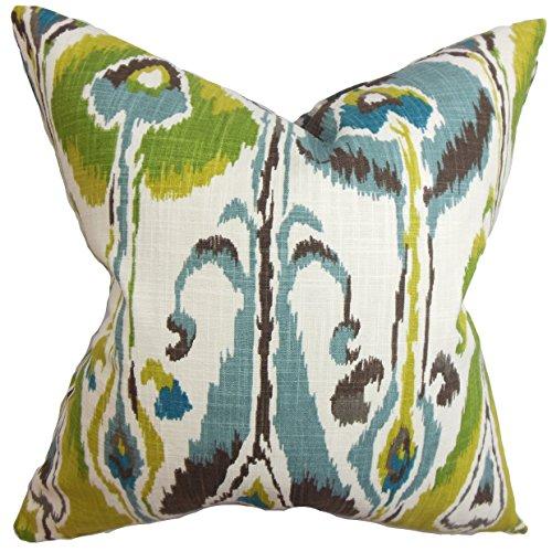 The Pillow Collection Gudrun Ikat Bedding Sham Blue Green European/26 x - Ikat Sham Euro