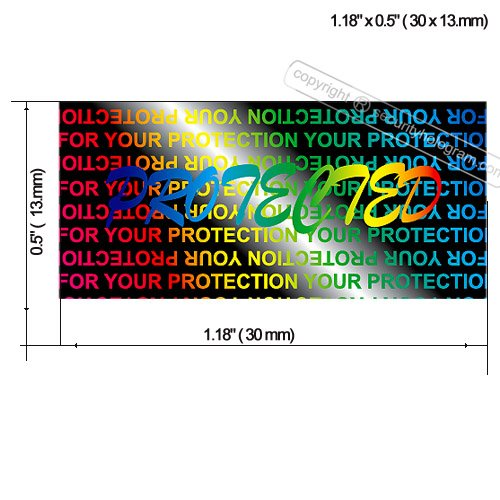 120 3D Stickers Protective Security Holograms ''Protected'' Tamper Evident 1.18'' x 0.51'' (30 x 13 mm) by Security Hologram (Image #1)