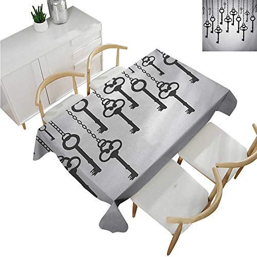 familytaste Antique,Rectangular Table Cloth,Silhouettes of Old Keys Hanging Chain Links Unlocking Security Home Opener,Modern Washable Tablecovers 54