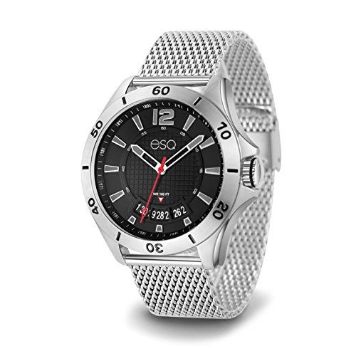 ESQ E181 Stainless Steel Watch with 3-hand / Date Window Movement and Stainless Steel Mesh (Esq Stainless Steel Bracelet)
