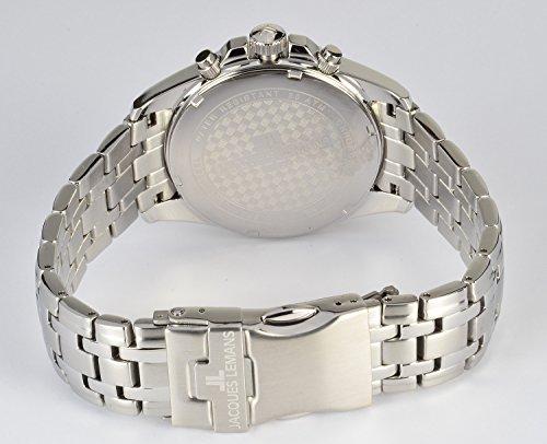 JACQUES LEMANS herrklocka Liverpool metallband massivt rostfritt stål kronograf 1-1830F