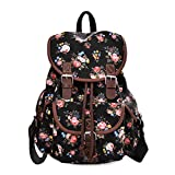 Lt Tribe Casual Floral Canvas Bag School College Backpack for Girls Black G00163