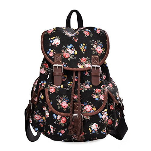 DGY Canvas Backpack Nylon Backpack Floral Backpack Print Cute Backpack for Teen Young Girls 163 Black
