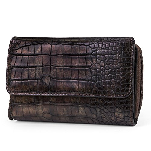 Bronze Womens Wallet - Mundi Big Fat Wallet Womens RFID Blocking Wallet Card Carrier Clutch Organizer (Bronze (Croco))