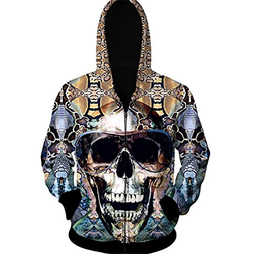 Herebuy8 Men's Hooded Sweater 3D Skull Print Zipper Cardigan Hoodie (XL, Glasses Skull)
