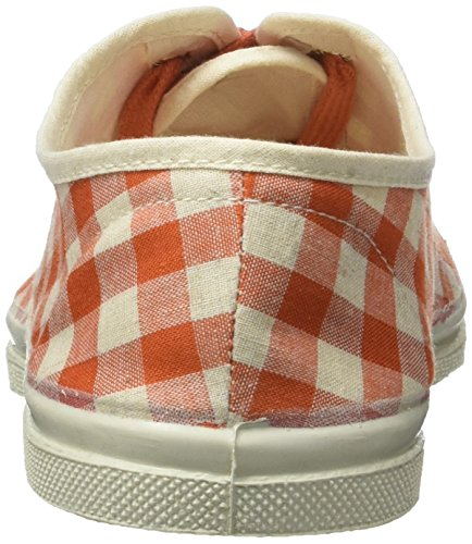 Bensimon Tennis Lacet Vichy Lin, Baskets Basses Femme Orange (Corail)