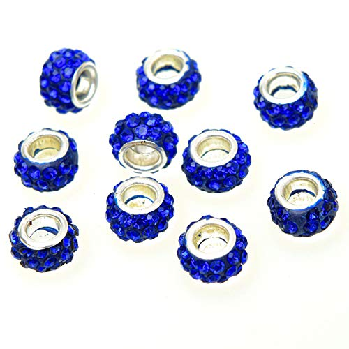 Monrocco 100 Pcs 10x7mm Alloy Rhinestone Spacer Beads Large Hole Sparkling Rondelle Dangle Charms Fit European Bracelet Snake Chain Charms Bracelet (Navy Blue) ()