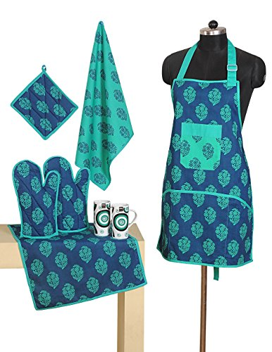 Patterned Cotton Chef's Apron Set with Pot Holder, Oven Mitts & Napkins – Perfect Home Kitchen Gift or Bridal Shower Gift