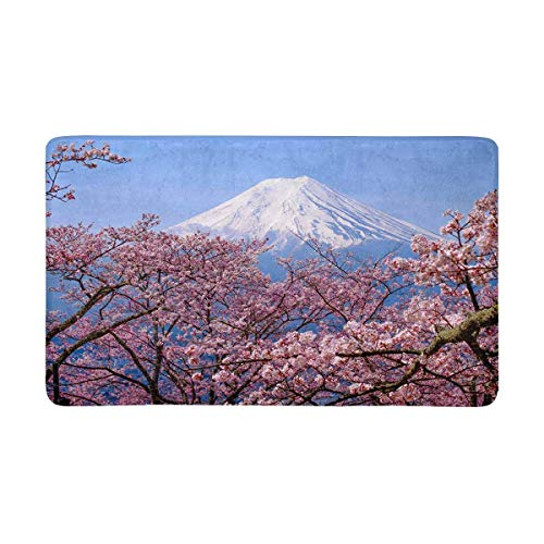 InterestPrint Mt Fuji and Cherry Blossom in Japan Spring Season Doormat Non Slip Indoor/Outdoor Floor Mat Home Decor, Entrance Rug Rubber Backing 30