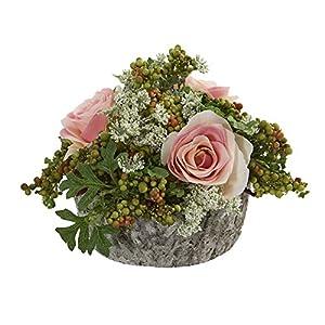 Nearly Natural 1634-LP Roses Bouquet Artificial Oak Vase Silk Arrangements Light Pink 65
