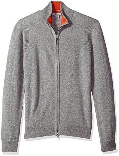Phenix Cashmere Men's Double Zip Mock Cardigan Sweater with Color Tipping, Gry/Orange, Large - Double Zip Cardigan
