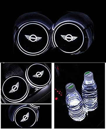 Bearfire Car Logo LED Cup Pad cup holder light USB Charging Mat Luminescent Cup Pad LED Mat Interior Atmosphere Lamp Decoration Light Subaru