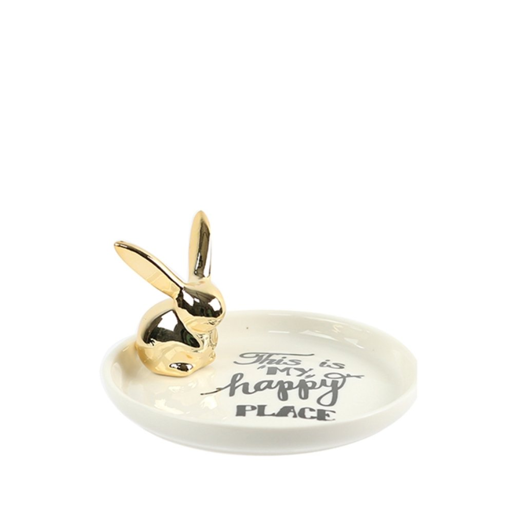 Fivtyily Rabbit Ring Holders Dish Ceramic Jewelry Tray Home Decor Display Storage for Watches Rings Necklaces Bracelets